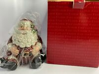 Vintage Fitz & Floyd Essentials Christmas Santa Candy CookiE Jar New In Box