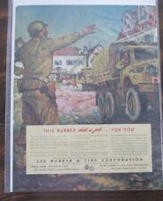 """Lee Rubber & Tire Ad Approx 10 1/2"""" x 14"""" Magazine page WWII w/ United Aircraft"""