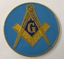 "Freemason Master Mason 3"" Inch Gold and Blue Car Emblem"