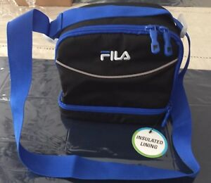 FILA  Lunch Bag Tote Insulated Lunch Box Extra Storage Pocket Black/Blue