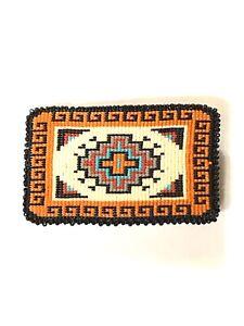 Native American Handmade Navajo Beaded Belt Buckle.