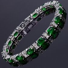 FINE QUALITY NATURAL CHROME DIOPSIDE TENNIS BRACET 14K WHITE GOLD OVER