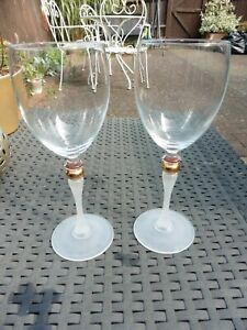 2 Coloured Stem with Gold Middle Wine Glasses