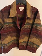 Anu by Natural Womens XL Coat Textured Jacket Blazer Horse Equestrian Rust Teal