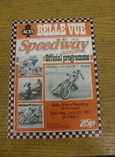 20/06/1981 Speedway Programme: Belle Vue v Reading (results noted).  We are plea
