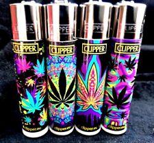 CLIPPER Feuerzeug ~ NEON LEAVES ~ komplettes Set ~ beste Qualität ! 4 x NEU TOP