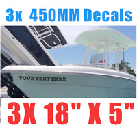 """3x 18""""x 5"""" PERSONALISED BOAT NAME Custom Decals Stickers / Graphics 33 fonts"""