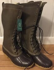 """LL BEAN 16"""" SNOW NWT NEW BOOTS SHEARLING LINED DUCK HUNTING RAIN OLIVE GREEN 11"""