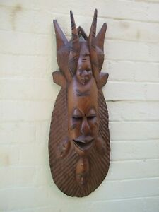 Tribal Art Large 5 Faces Carved Wood Native Wall Mask Pacific Islands Rare VGC