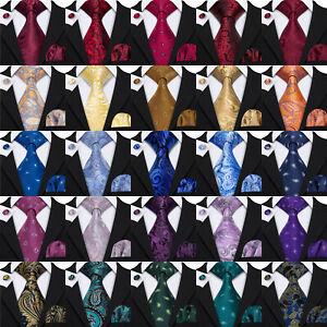 Paisley Necktie Blue Purple Mens 100% Silk Tie Set Red Green Floral Wedding Ties
