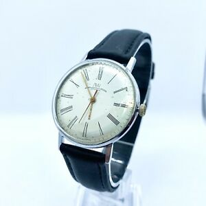 Vintage Soviet USSR Retro Mechanical Wrist Watch Luch Silver Dial 1970s