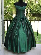 Vtg 80s Emerald Green Satin Strapless Party Prom Bridesmaid Dress Gown Large