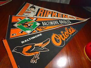 Lot 3 1990s Baltimore Orioles Pennant 1 Is Signed Mvp Ripken Mlb Baseball