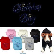 Dog Clothes BIRTHDAY BOY Rhinestone Hoodie Sweater Coat Jacket for dogs XS-XXXL
