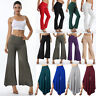 Women Palazzo Chiffon Wide Leg High Waist Harem Pants Loose Flared Trousers LC