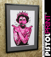 Pistola Estampado Reina Grafiti Tatuajes Pantalla Limitado Enmarcado Obra Arte