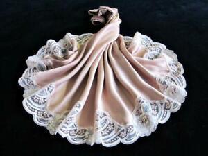 Vintage PURE SILK Waist Slip S Fawn Beige Ivory 2-Tone Lace Hem Half Slip
