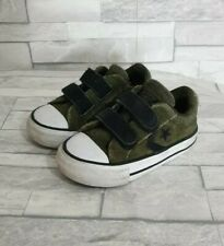 CONVERSE ALL STARS Trainers Infant Size 4-UK Boys Toddler Khaki Green Leather