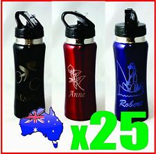 Customised Personalised Water Drink Bottle with Name Logo Laser Engraved Etched