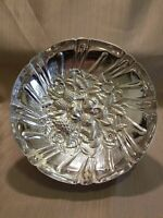 """Kirk Stieff Repousse Silverplate Footed Floral Berry Bowl, 9.5"""""""