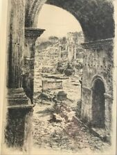 Paul Geissler 1926 Original Signed Etching Rome German Listed Artist Roma