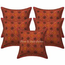 """Cotton Sequins Gold Zari Embroidered Pillow Case Covers 16"""" Ethnic Cushion Cover"""