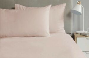 2 x Percale Pillow Cases Luxury Soft Housewife Pillow Slips Covers Blush Pink