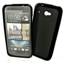 Dark Case Silikon TPU Handy Cover Schwarz + Displayschutzfolie f. HTC Desire 601