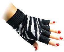 Unisex Black White Zebra Fingerless Knit Black Gloves for Texting Warm
