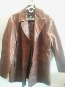 A.n.a Mens Jacket Brown Button Flap Pockets Notch Lapel Leather Vintage L