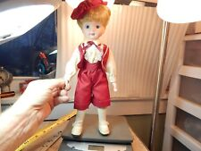 "14"" Unmarked Porcelain Bisque? Face Doll w/clothes,shoes, & Cap Taiwan"