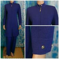 ST. JOHN Collection Knits Royal Blue Jacket Coat L 10 12 DUSTER DRESS Pockets