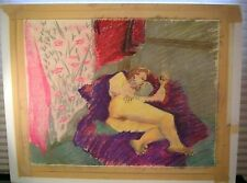 Vintage Nude Pastel Painting