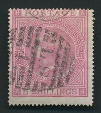 More details for gb qv stamp 1867 sg #126 5/- rose, maltese cross plate 1, attractive w crease