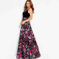 Langes Blumen Abendkleid Partykleid Sommerkleid Kleid rückenfrei Maxikleid BC527