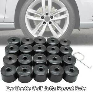 20x Wheel Lug Nut Bolt Caps 28mm w/ Dismantle Tool For VW Golf Jetta Passat