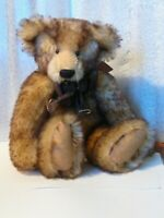 "artist bear 10"" brown/beige Mohair  LEO jointed 1993 PRISTINE NEW"