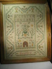 """""""Sampler"""" Antique, Stitched Signed,17.3/4"""" X 22.3/4"""" Vg.Ready To Hang."""