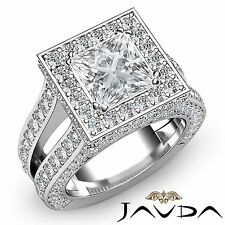 Halo Pre-Set Princess Diamond Engagement Exquisite Ring GIA F VS2 Platinum 4ct