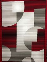 Red Circle Square modern Red Gray White ROOMSIZE AREA RUG FOR THE HOME NEW 8x10