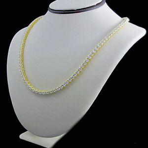 NEW 925 STERLING SILVER YELLOW GOLD FINISH BLING CZ 1 ROW TENNIS CHAIN NECKLACE