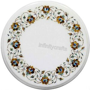 14 Inches Marble Coffee Table Top End Table Inlay Work with Semi Precious Stone