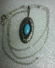 OLD NAVAJO STERLING SILVER & TURQUOISE NECKLACE PENDANT w/ Chain