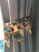 One Pair Marvel Comic Book Cover Curtain Tie-Backs with Pennant Shapes