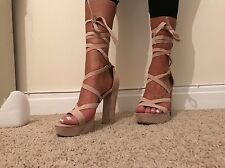 Size 4 Public Desire Nude Pink Faux Suede Lace Up Sandals Heels Chunky Shoes Tie