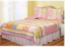 GIRLS MARI GARDEN Twin (single) QUILT SET: TEEN LADYBUG PINK DOTS BEDDING