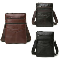 Men Genuine Leather Briefcase Shouler Waist Bag Crossbody Messenger Travel Purse