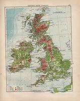1898 Victoriano Mapa ~ Islas Británicas Física ~ Alturas Y Profundo