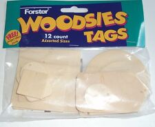 Forster Woodsie Tags 12 tags Unfinished Wood, NEW