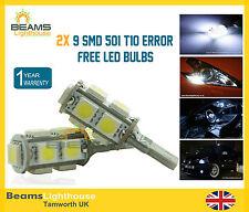 2x 9 SMD LED 501 T10 WSW CANBUS NO ERRORE INTERNI & Laterale Xenon Bianco Lampadina